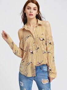 Blusa de rayas con estampado de grulla y hombro descubierto - amarillo