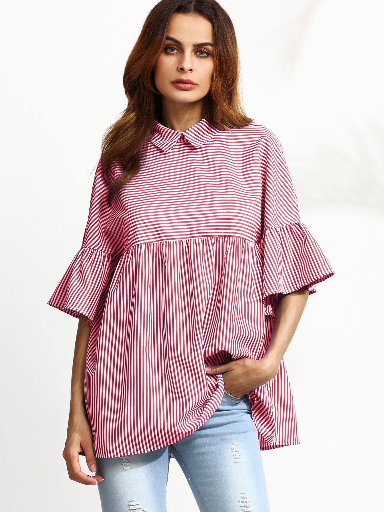 Striped Ruffle Sleeve Babydoll Top