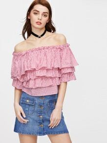 Striped Layered Flounce Off The Shoulder Top