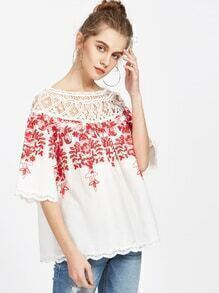 Two Way Crochet Neck Vine Embroidered Top
