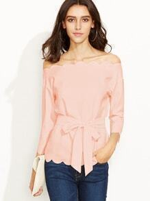 Off Shoulder Self Tie Scalloped Top