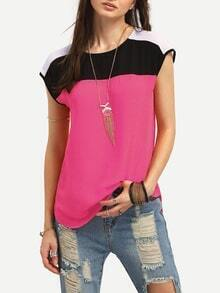Color Block Buttoned Keyhole Cap Sleeve Top