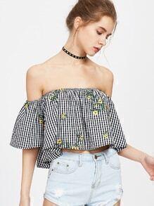 Bardot Neckline Embroidered Trapeze Checkered Top