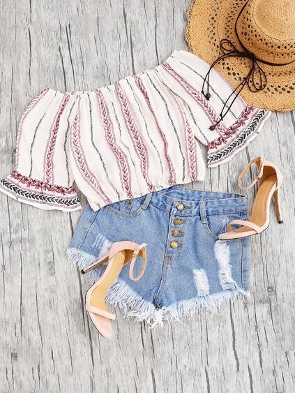 Off Shoulder Bell Cuff Print Crop Top