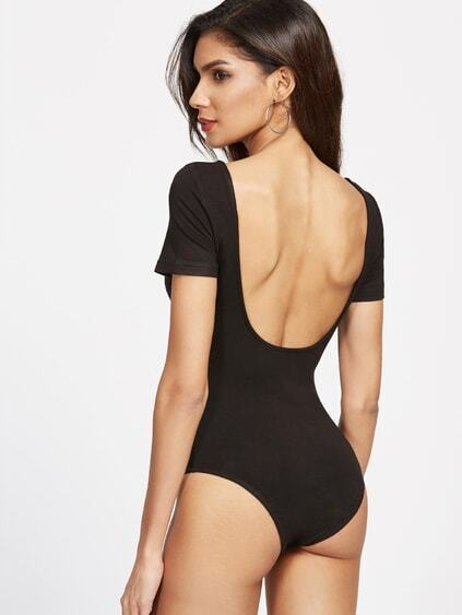 Body con doble cuello redondo - negro