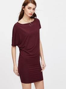 Asymmetric Sleeve Blouson Dress