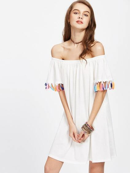 Bardot Neckline Tassel Trim Dress