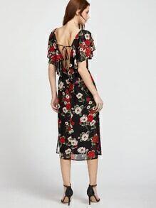 Vestido con estampado de flor y espalda en V - negro