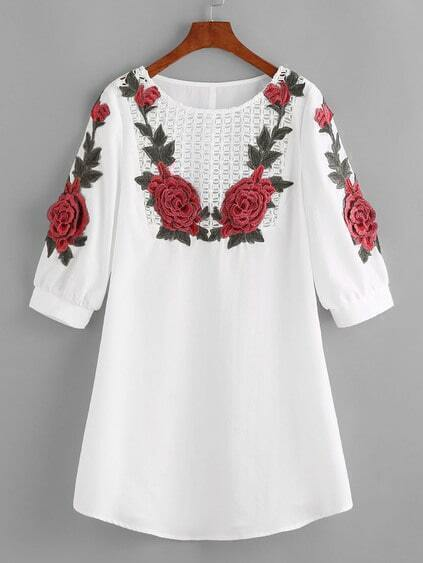Crochet Yoke Rose Applique Lantern Sleeve Dress
