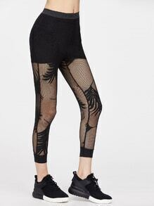 Leggings cortos de malla tropical - negro