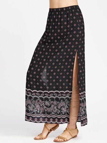 Ornate Print High Slit Side Longline Skirt