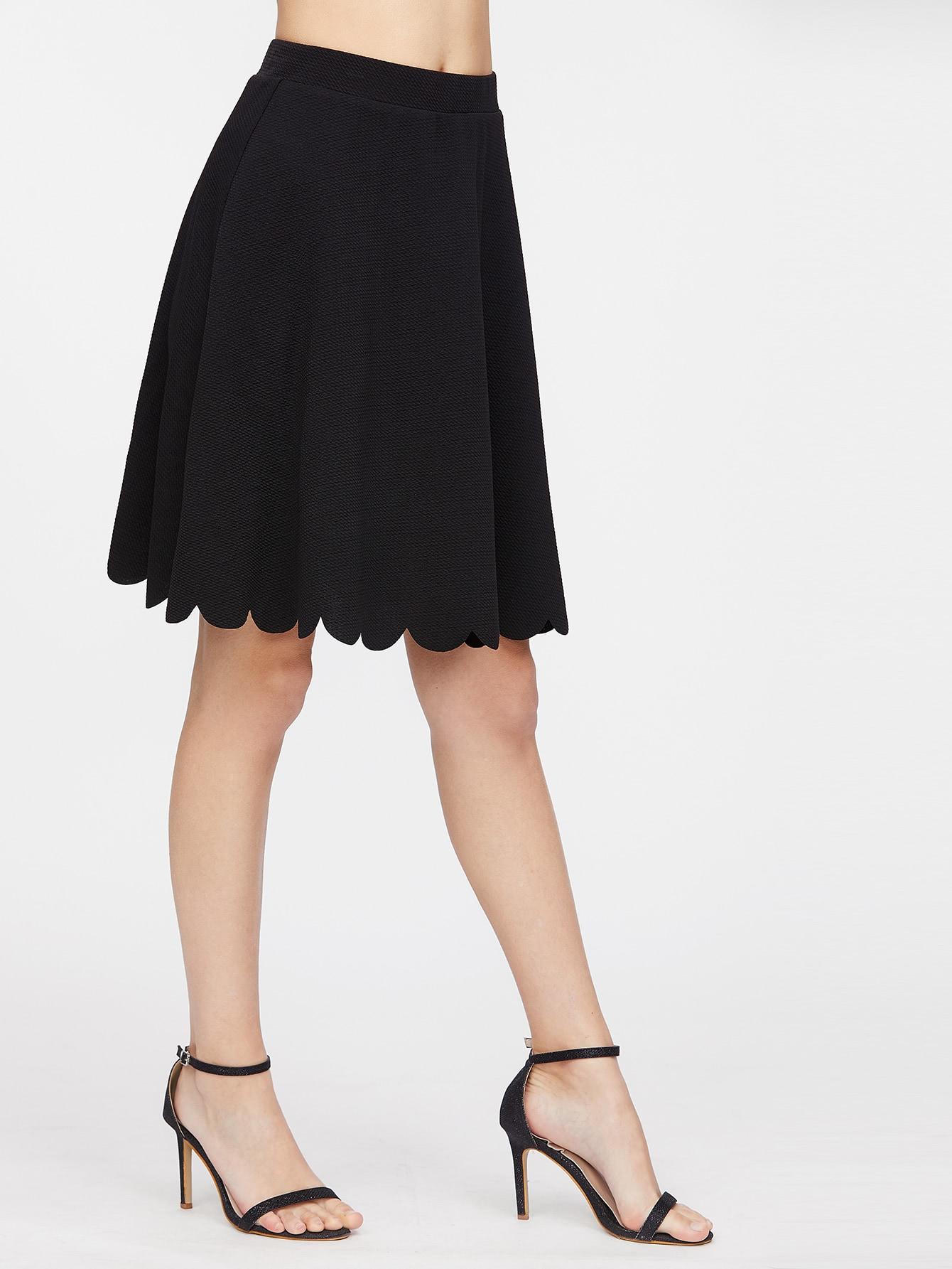 Elastic Waist Scallop Hem Textured Skirt