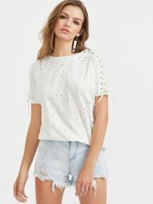 Lace Up Sleeve Hollow Out Slub Tee