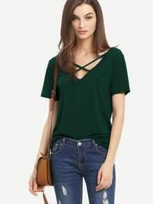 Shirt avec la croix sur le front arrière en bandes à manches courtes V - Vert foncé