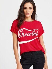 Brief-Druck-T-Shirt - Rot