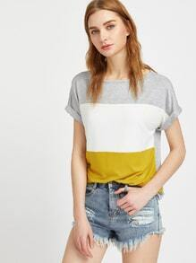 Color Block Roll Cuff Tee