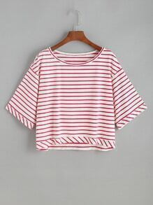 shirt rayé avec des épaules baissé - Rouge Blanc