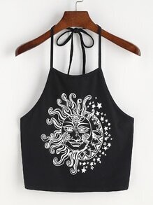 Sun And Moon Print Halter Neck Top