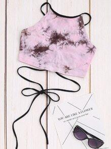 Top corto con estampado de tie dye con cordones - rosa