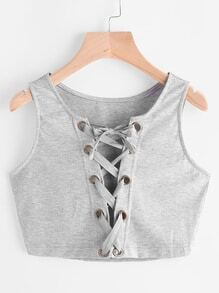 Eyelet Lace Up Front Crop Tank Top
