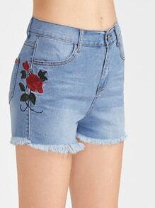 Embroidered Side Frayed Hem Denim Shorts