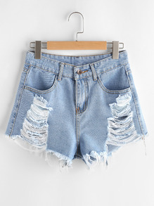 Shorts en denim roto de borde crudo
