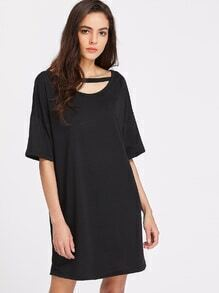 Cut Out Open Back Tee Dress