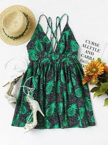 Plunging Neckline Pineapple Print Strappy Cami Dress