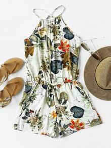 Tropical Print Criss Cross Back Drawstring Waist Romper