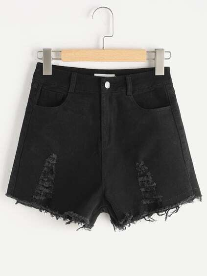 Shorts Denim Affinés Fray Hem