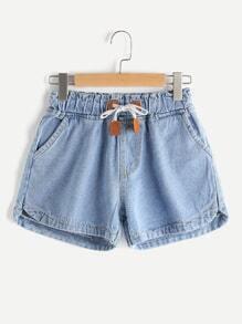 Elastic Self Tie Waist Denim Shorts