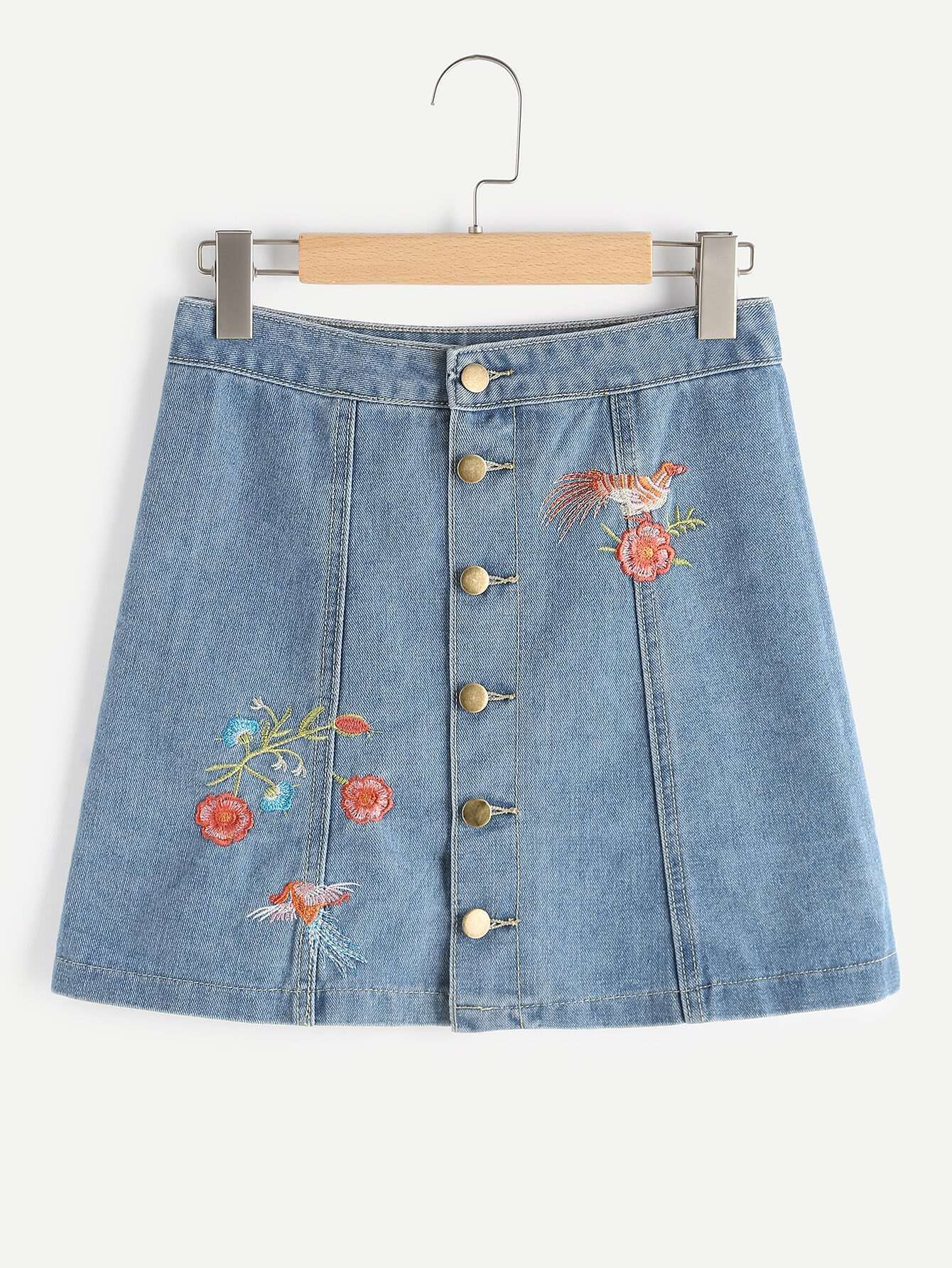 Embroidered Single Breasted Front A Line Skirt