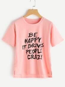 Slogan Print Dip Hem Split Side Tshirt
