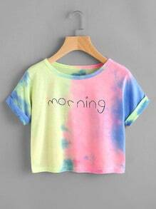 Letter Print Water Color Cuffed Tee