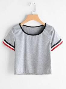 T-shirt contrastant Trim Slub
