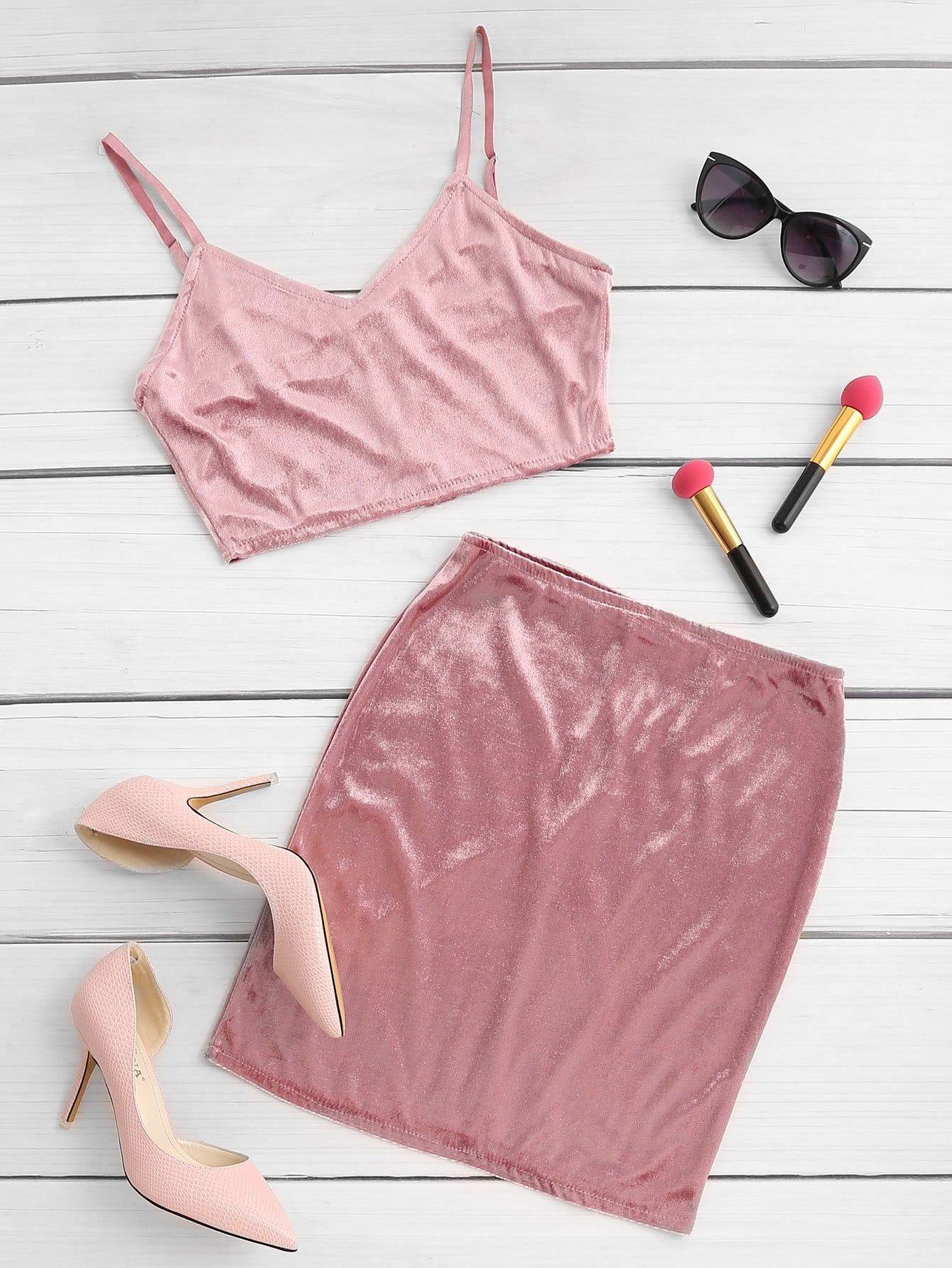 V Neckline Zip Back Crop Velvet Top With Skirt