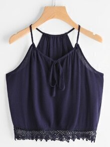Self Tie Front Lace Hem Cami Top