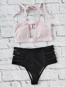 Two Tone Ladder Cutout High Waist Bikini Set