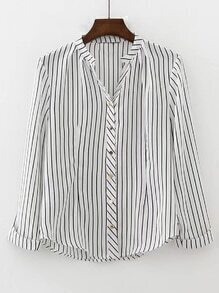 Contrast Striped Rolled Cuff Blouse