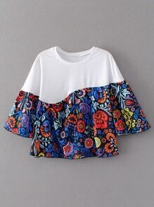 T-shirt floral à manches courtes