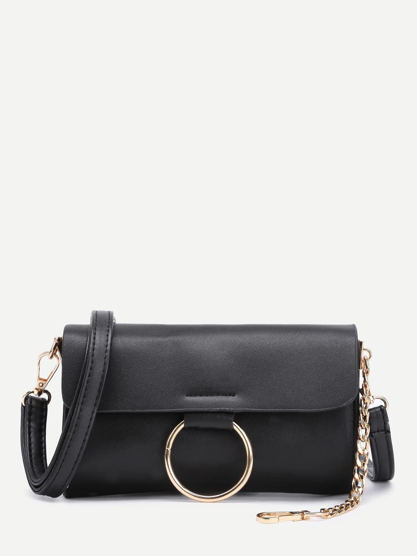 Ring Detail PU Shoulder Bag