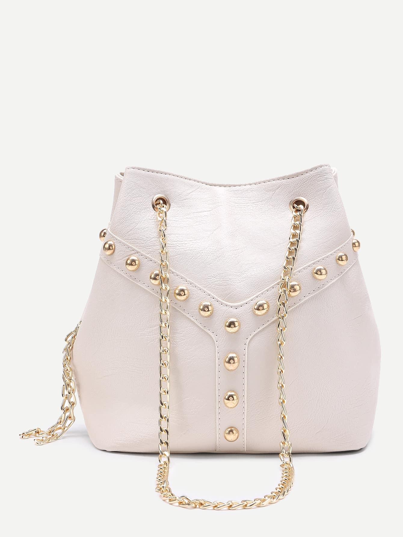 Beaded Detail Bucket Bag Chain