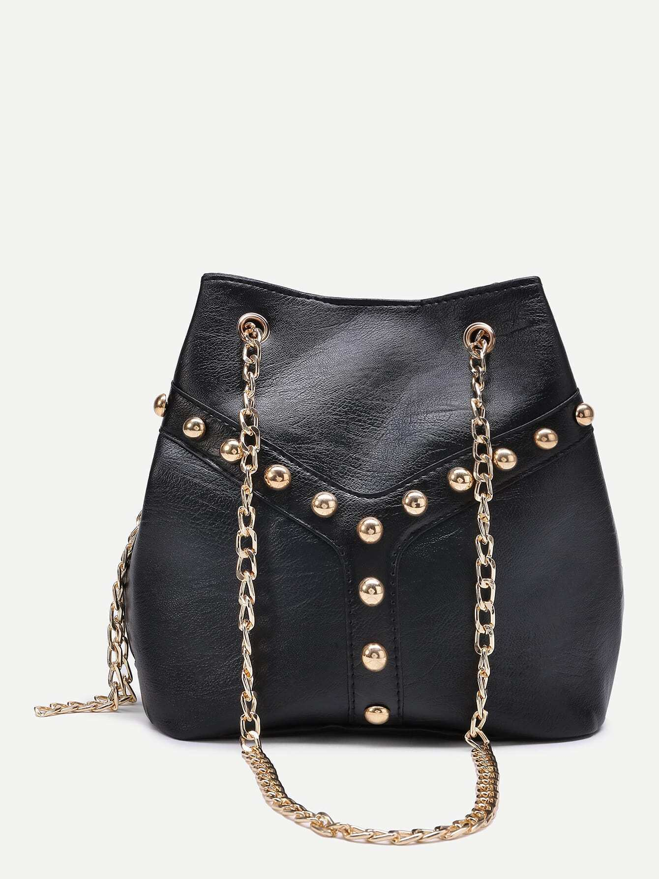 Beaded Detail Bucket Bag Chain