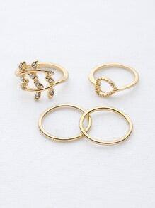 Ensemble d'anneaux en forme de feuille et en forme de coeur
