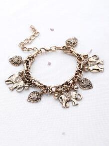 Bracelet en forme d'éléphant et en forme de coeur