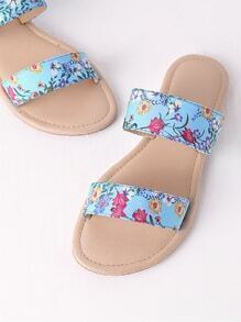 Calico Print Slip On Sandals