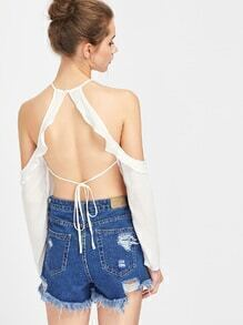 Halter Open Back Self Tie Detail Frill Top