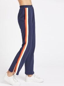 Slit Side Striped Sports Pants