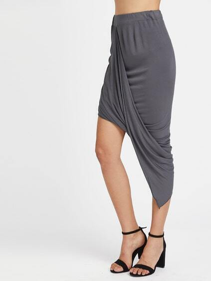 Gathered Hem Asymmetrical Skirt