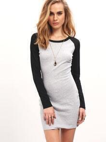 Grey Black Long Sleeve Color Block Bodycon Dress
